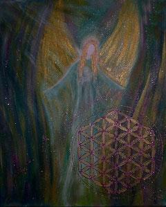 Schutzengelbild Acryl auf Leinwand mit der Blume des Lebens mit Goldglitzer