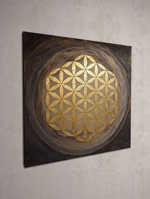 Blume des Lebens gemalt mit Acryl auf Leinwand und mit 24 Karat Blattgold  veredelt.