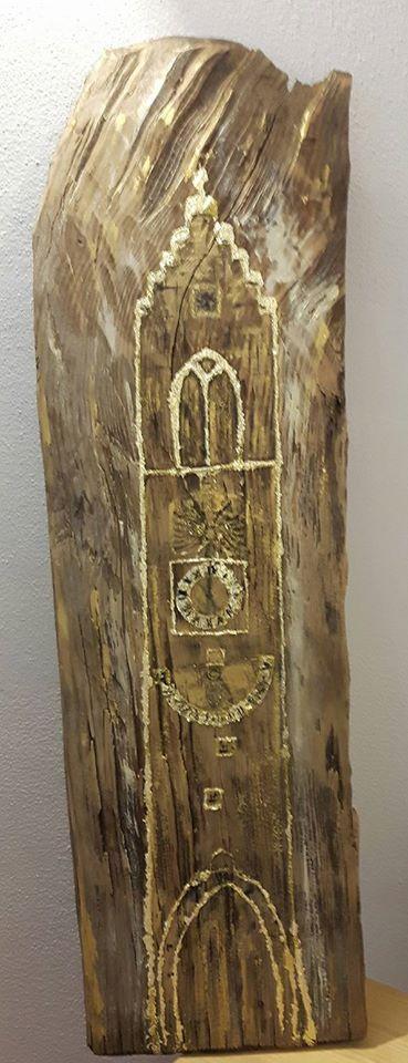 Zwölferturm Sterzing auf alter Holzschindel für Neujahrsentschuldigungskarte