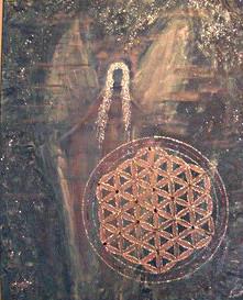 Engel bild mit der Lebensblume gemalt mit Aryl auf Leinwand