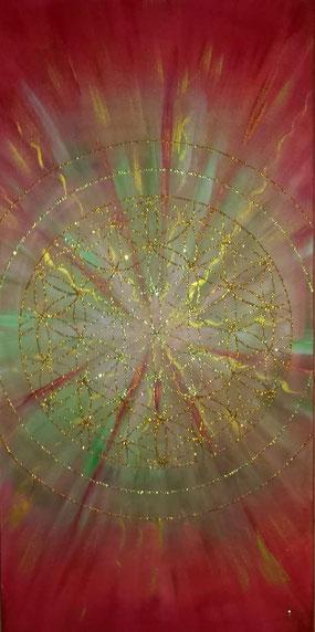 Blume des Lebens Lebensblume Acryl auf Leinwand Energiebild