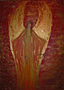Schutzengelbild in Acryl in rottönen gemalt