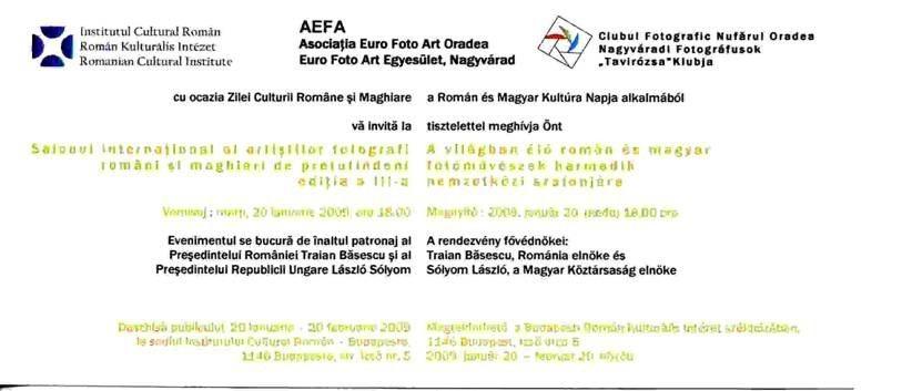 Invitaţie ICR Budapesta (2009) - Invitation ICR Budapesta (2009) - Román Kultúrális Intézet meghívója  (2009)
