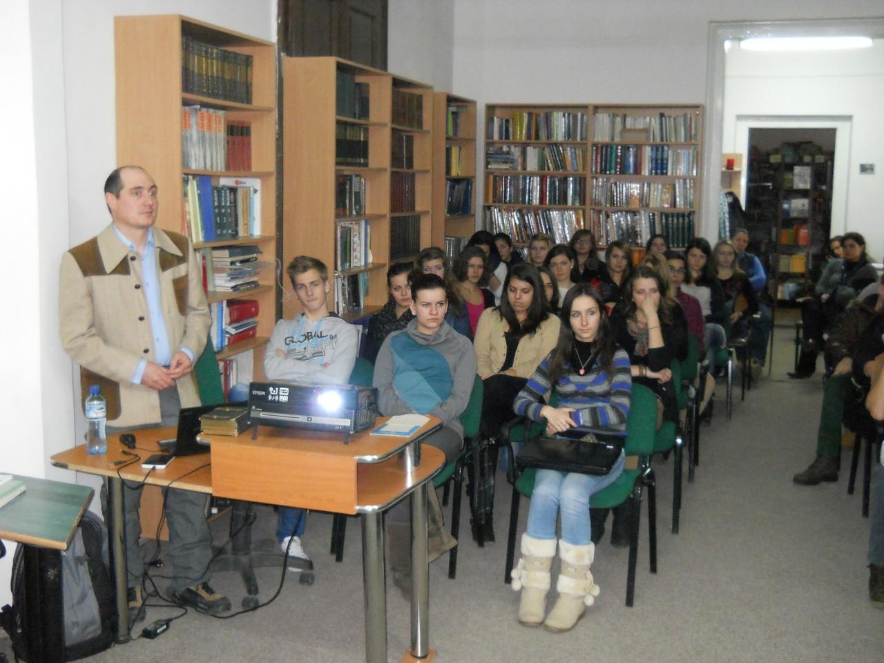 Prelegere despre Carol Pop de Szathmári, la Liceul Ady Endre Oradea - 30 ianuarie 2013