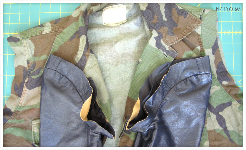 Schritt 1, DIY-Jacke mit Lederärmel: Ärmel abschneiden