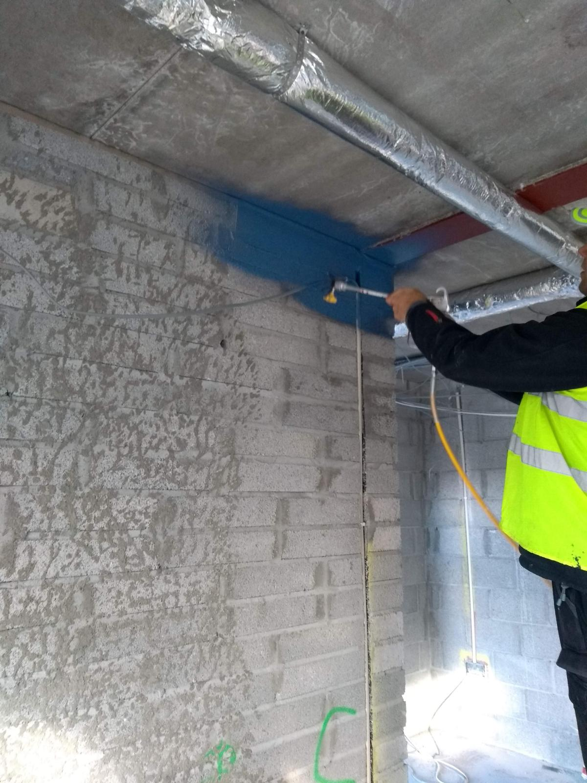 Sprayable Air Tight Paint for the perimeter area between ducon slab and suspended ceiling
