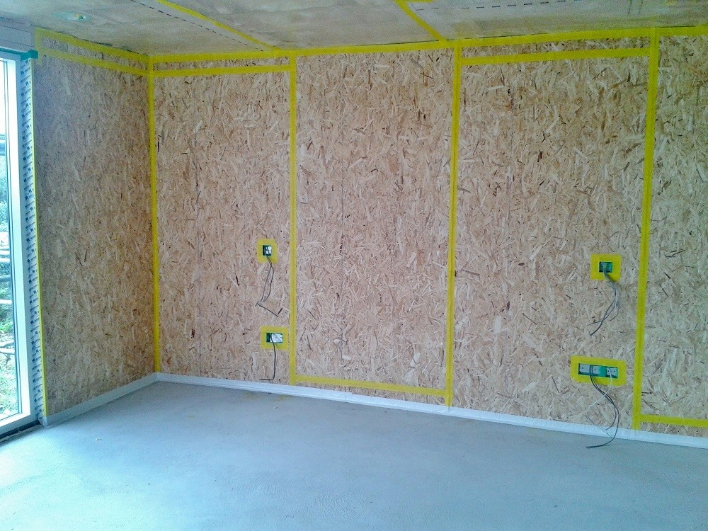 Air tight sealing of OSB walls