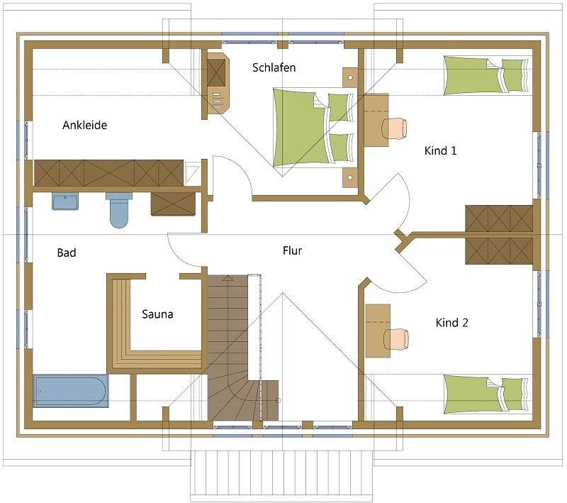 Schwedenhaus mit Ankleidezimmer und Platz für eine Sauna
