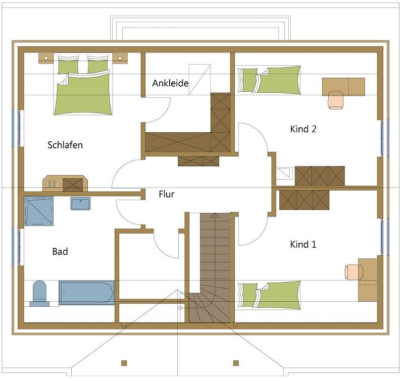 Schwedenhaus mit Ankleidezimmer im Dachgeschoss