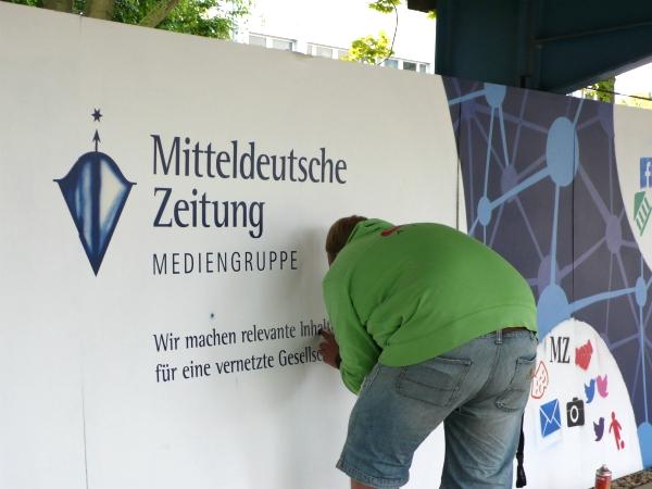 Live-Zeichnen eines Graffiti im Coporate Design des Kunden