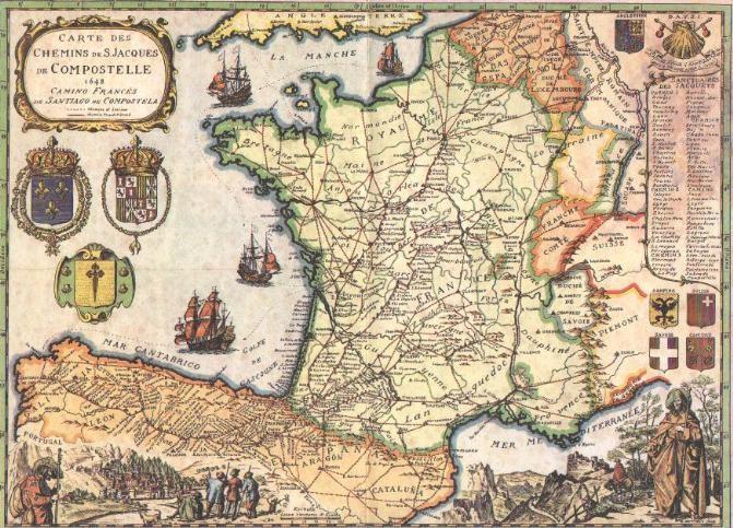 """Mapa """"de época"""" del Camino de Santiago. Parece del s. XVII pero en realidad se realizó hacia 1970"""