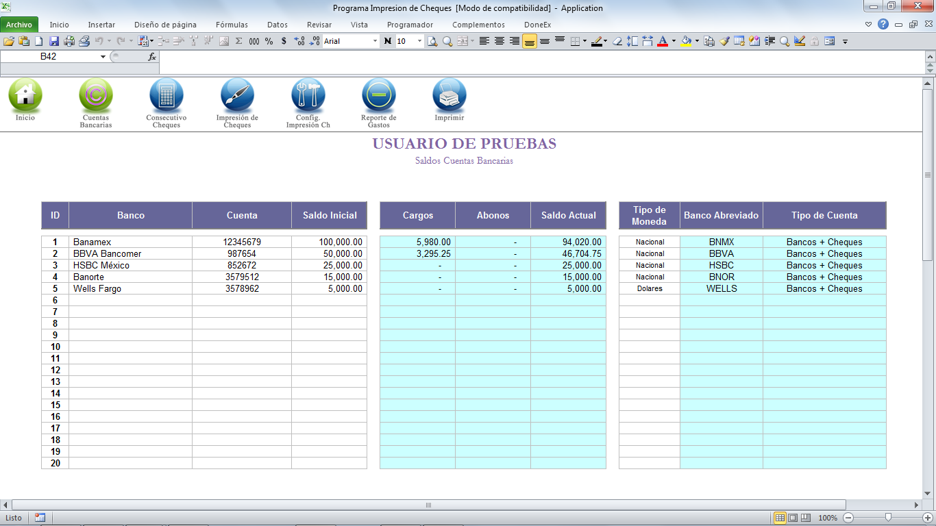 Módulo Cuentas Bancarias