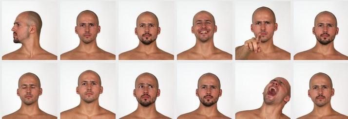 Gesichtsbewegungen eines Mannes