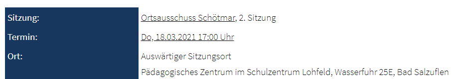 Ortsausschuss Schötmar am 18.03.2021