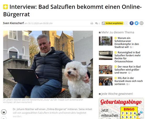 "Online-Bürgerrat zum Thema ""Masterplan Schötmar"""