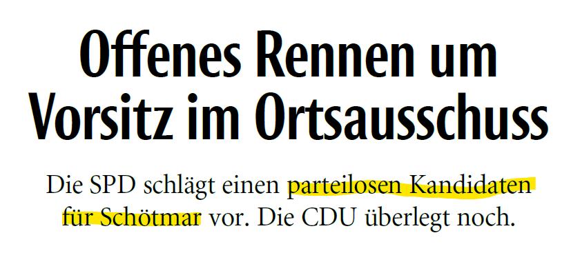 SPD sorgt für eine Überraschung im Ortsausschuss Schötmar