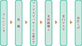 クレンジング→洗顔→フェイシャルマッサージ(お顔のみ)→美容液導入→美白マスク→お仕上げ