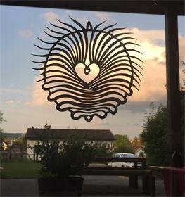 """Papierschnitt-Fensterbild """"Aufstieg"""" ca. 20 cm Durchmesser"""