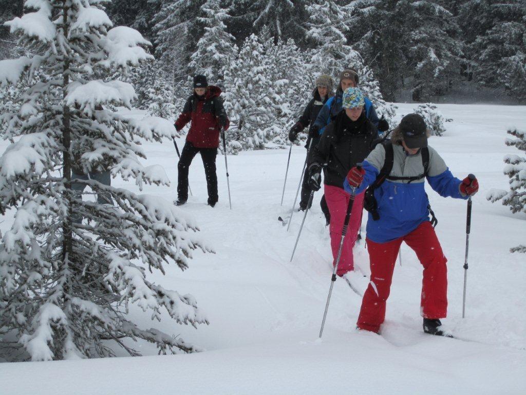 ... stapften wir mit ein paar mutigen Sportlern durch den Schnee