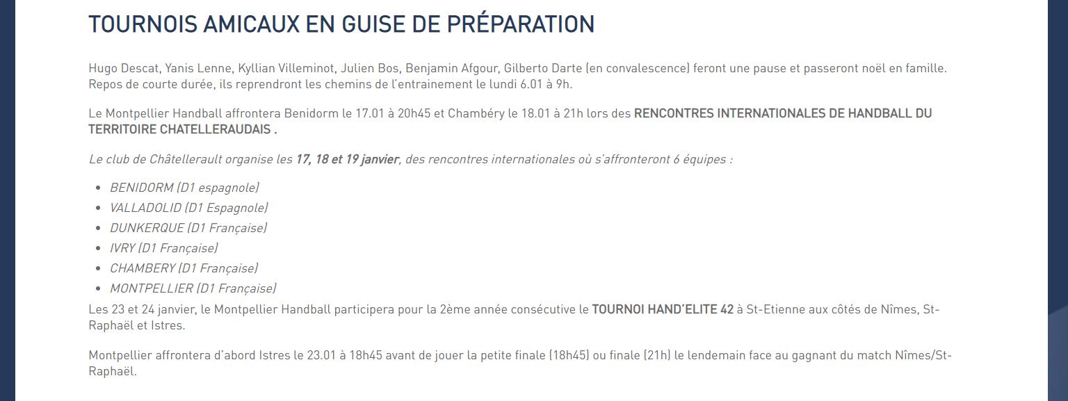 """Site officiel du MHB, """"Janvier : L'heure de la reprise a sonné !"""", article du 07 janvier 2020"""
