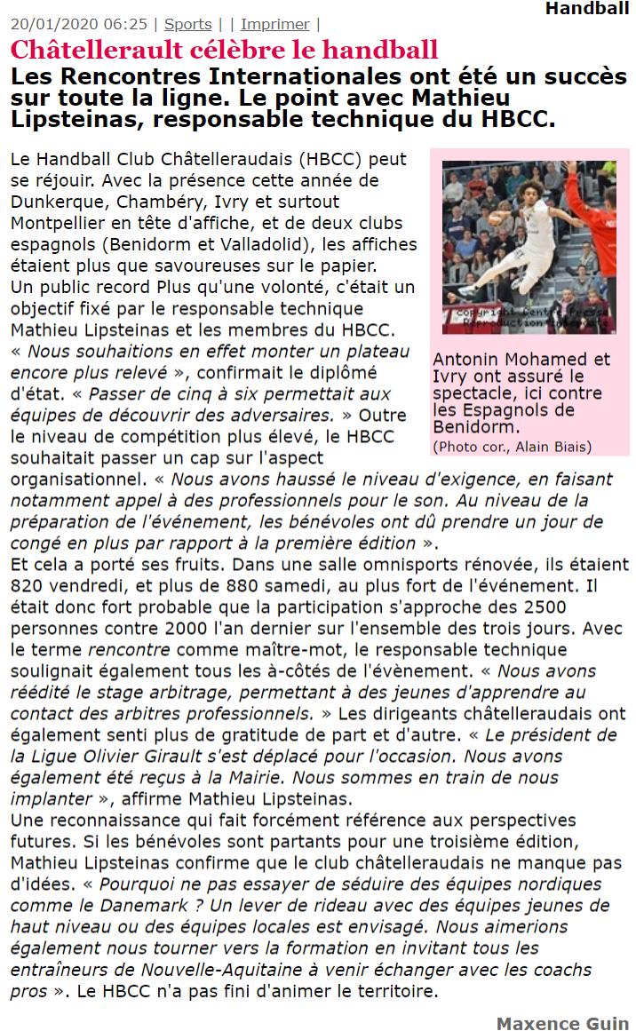 Centre Presse, article du 20 janvier 2020