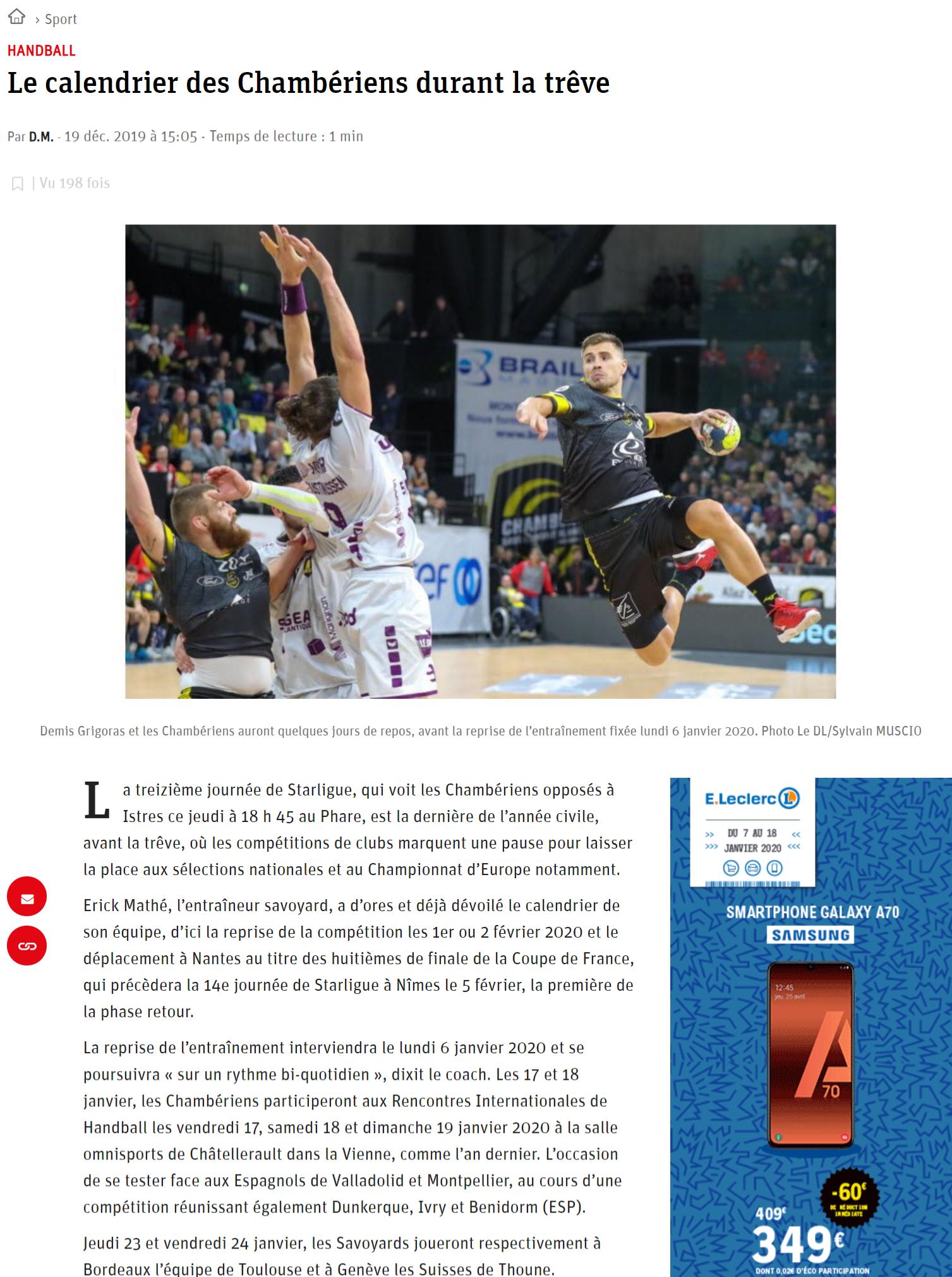 Le Dauphiné, article du 10 décembre 2019