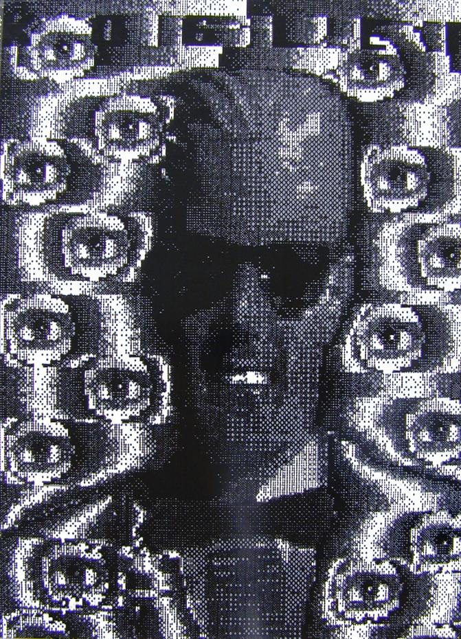 "Peter Kogler Edition / art print ""Max Headroom"" from 1988."