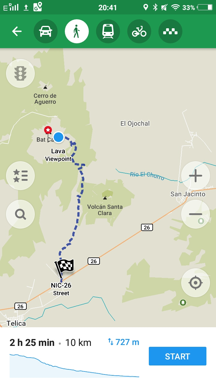 Route Abstieg vom Telica Vulkan