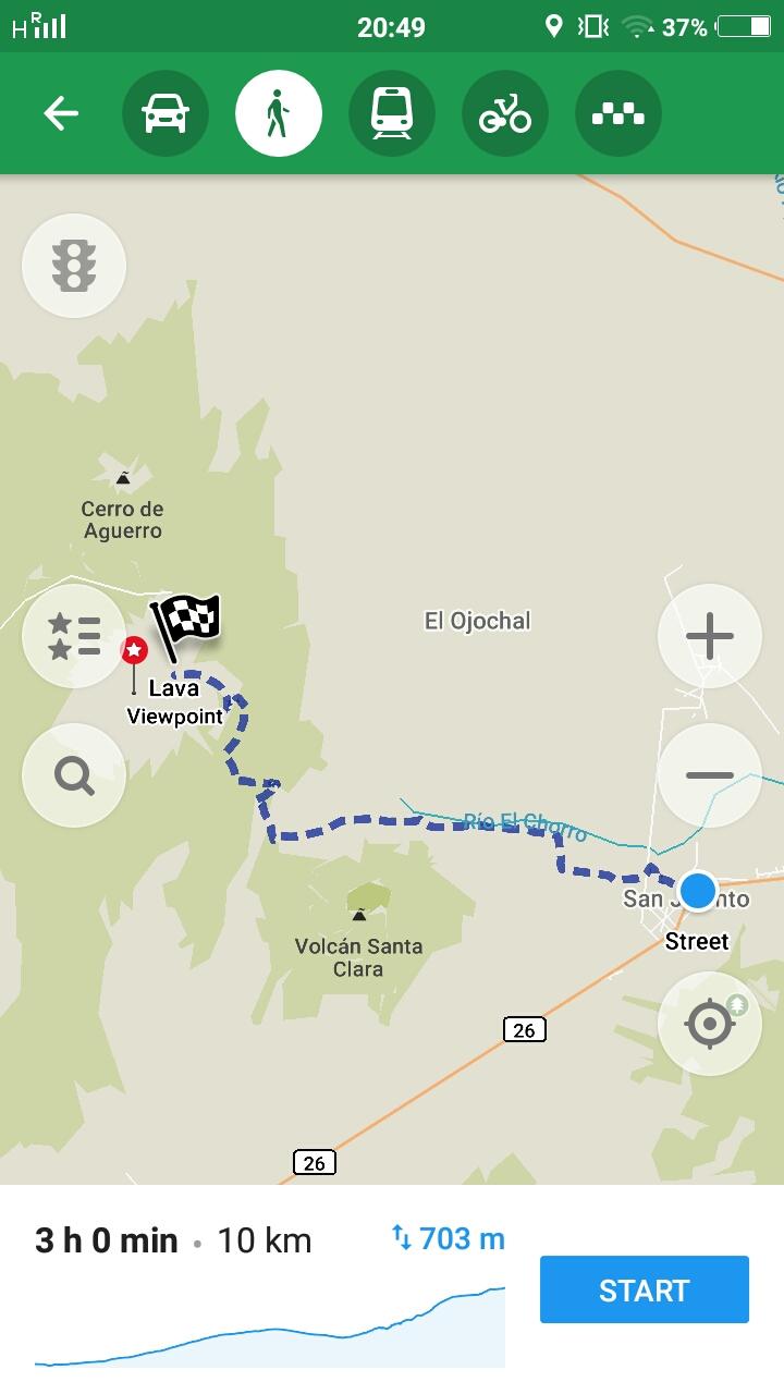 Route Aufstieg zum Telica Vulkan