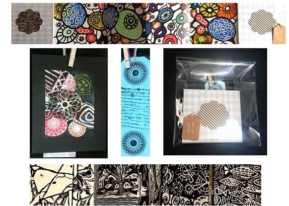Pack: Libro de artista (80 x 13,5) + pequeña lámina (9,5 x 12) + marcapáginas (5 x 16,5). Técnicas mixtas. 75 € + gastos de envío.