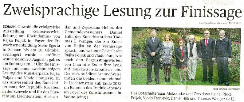 Tageszeitung Liechtensteiner Vaterland berichtete am 13.10.2015 über die Lesung von Rajka und Vlado Poljak Franjevic