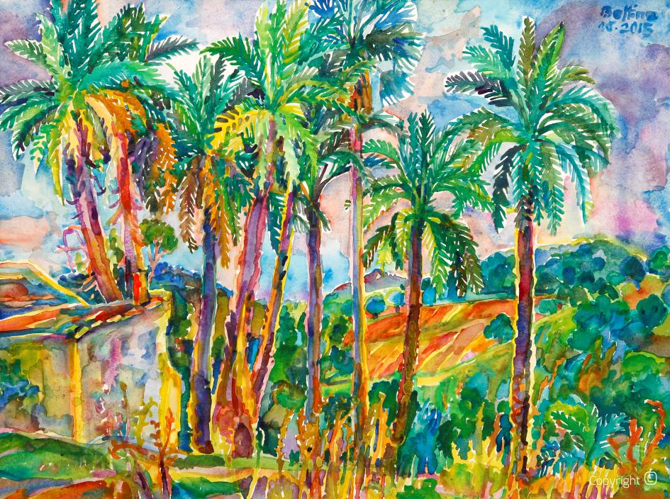 Palmen bei Heliopolis in Algerien, 2015
