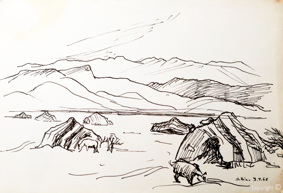 Beduinenzelte am Fuße des Auresgebirges, 1965