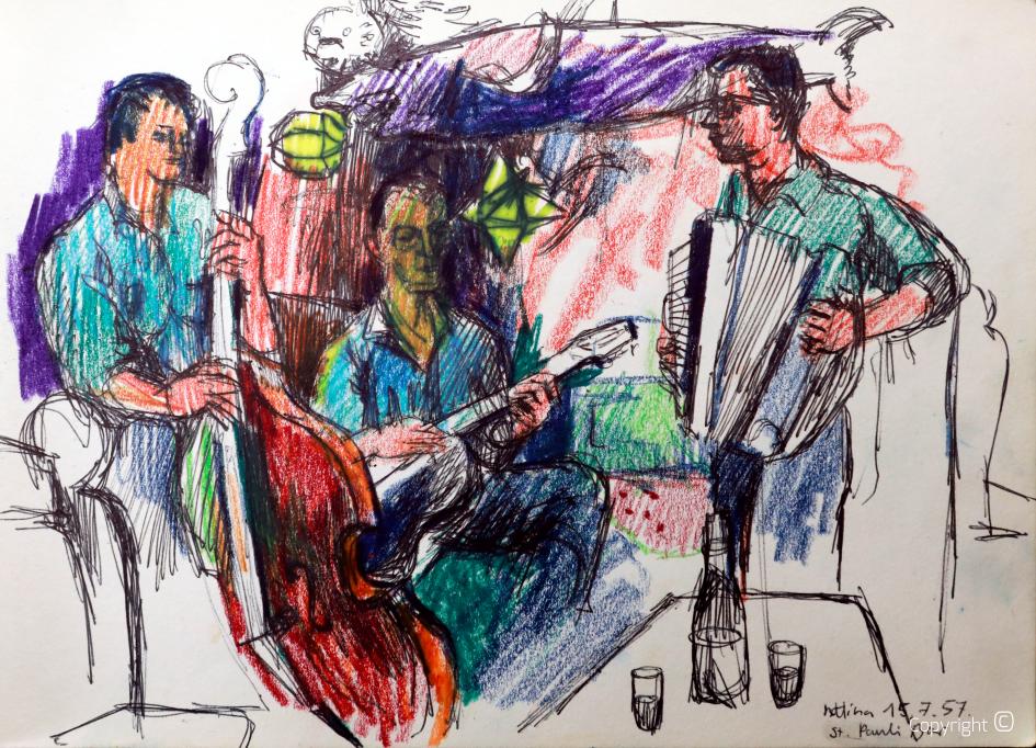 Musiker in St. Pauli, Hamburg, 1957
