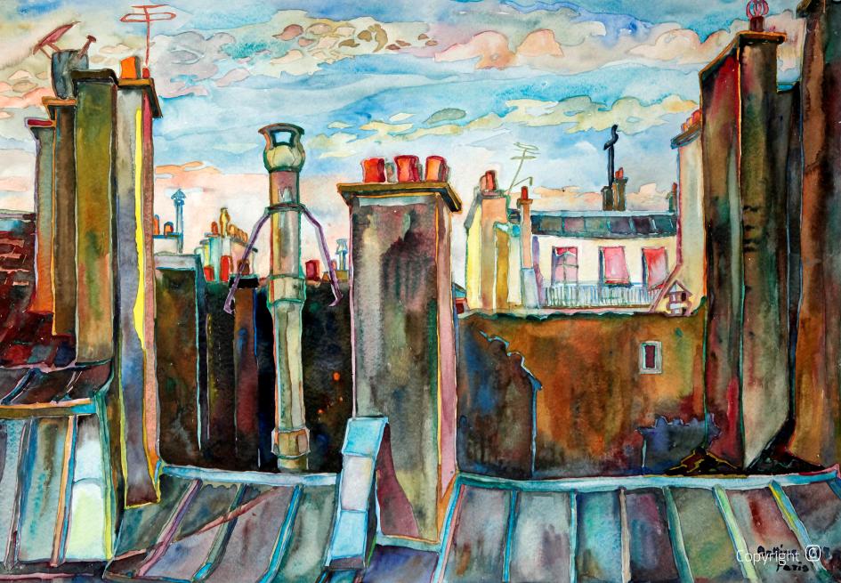 Paysage de toiture à Paris, 1968