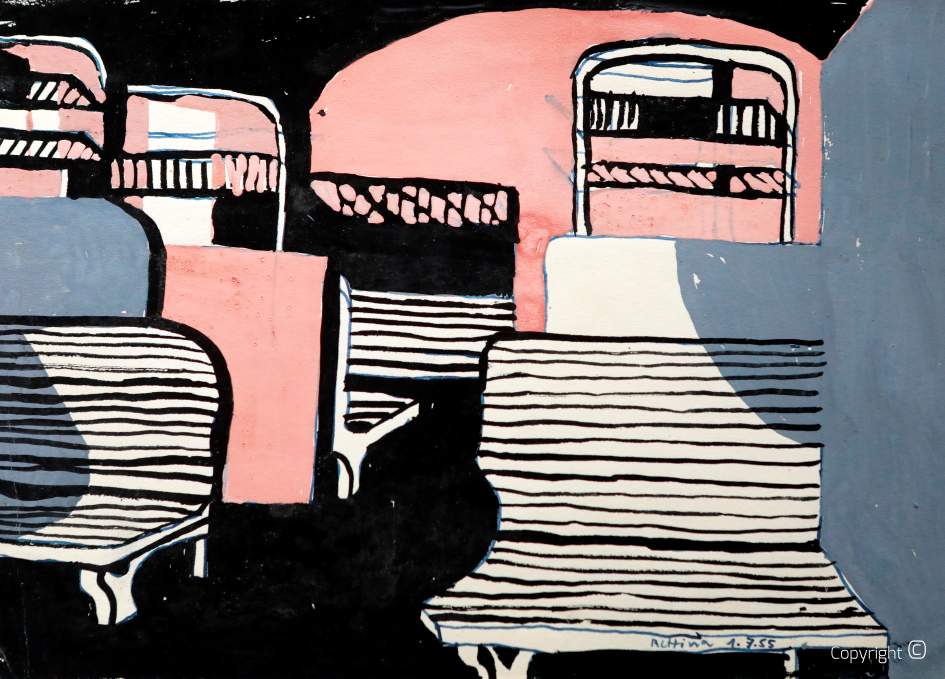 Train compartment, woodcut black and pink, 1950s