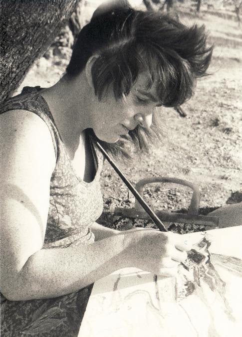 Bettina beim Malen des Seybouse Tals, ca. 1978
