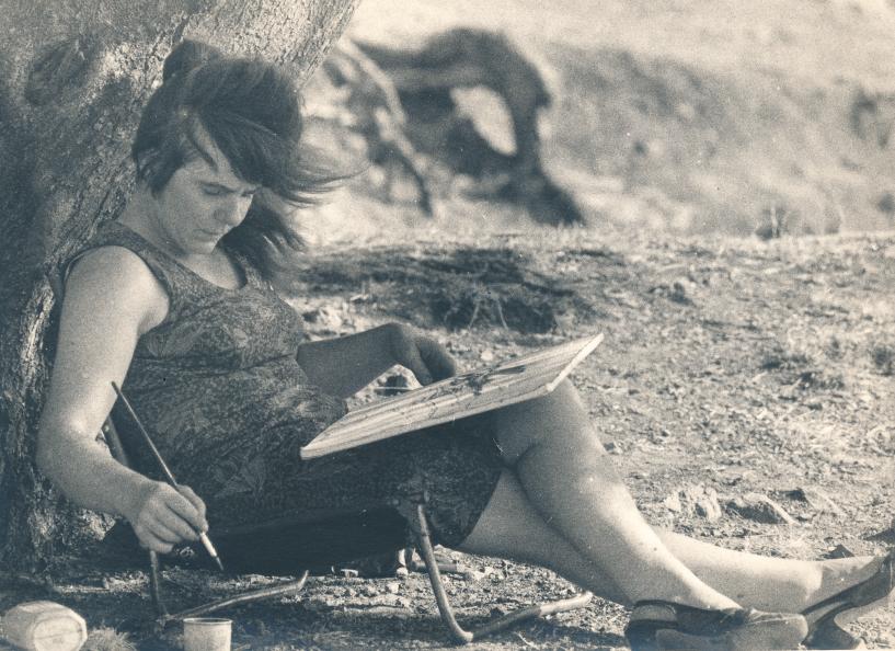 Bettina beim Malen, ca. 1978