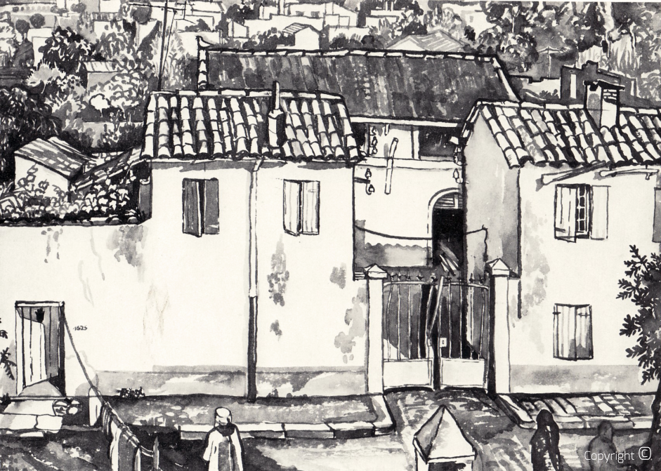The old slaughterhouse in Guelma, Indian ink, 1978