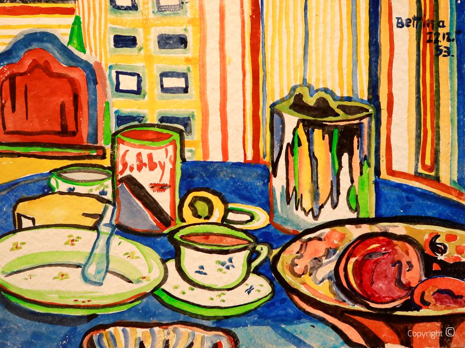 Breakfast table in the Black House in Solingen, 1953