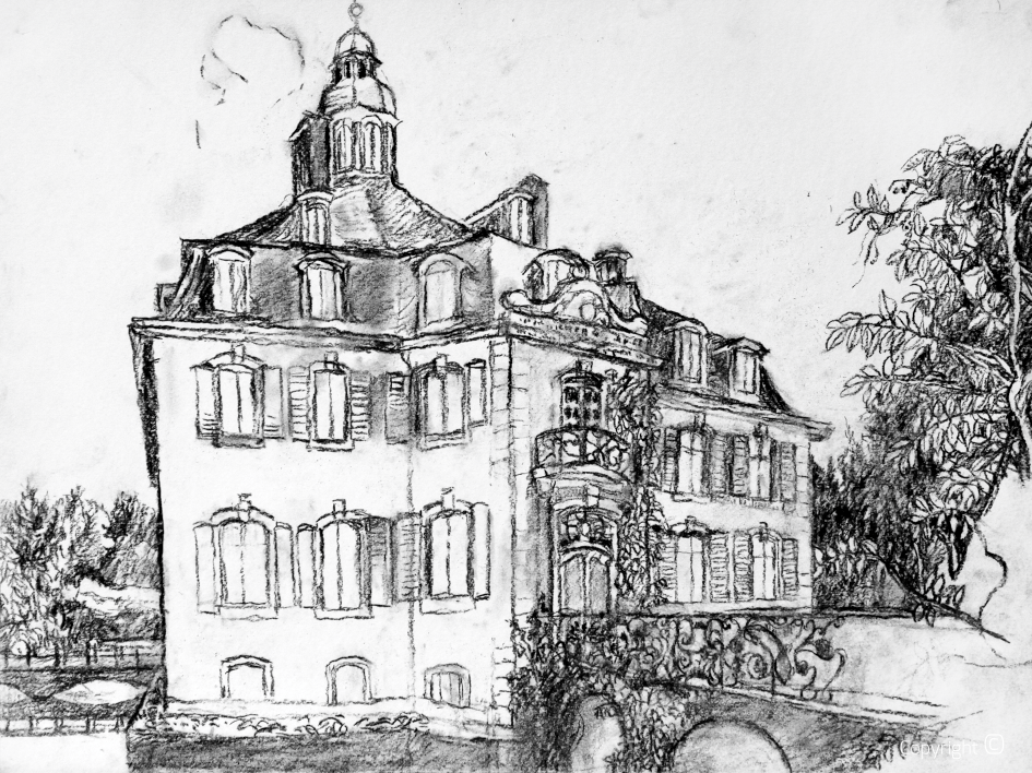 Seitliche Vedutenansischt von Schloss Hackhausen, 2017