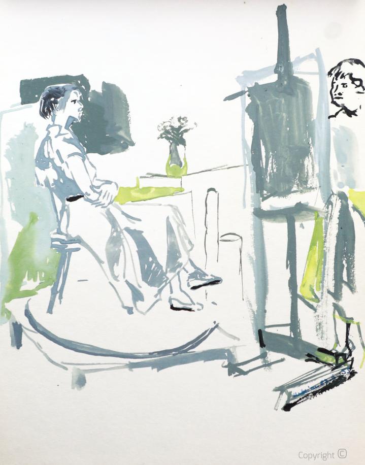 In the studio of the Art Academy in Copenhagen, 1955