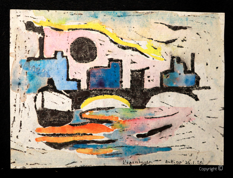 Harbor impressions, colored linocut, approx. 1956