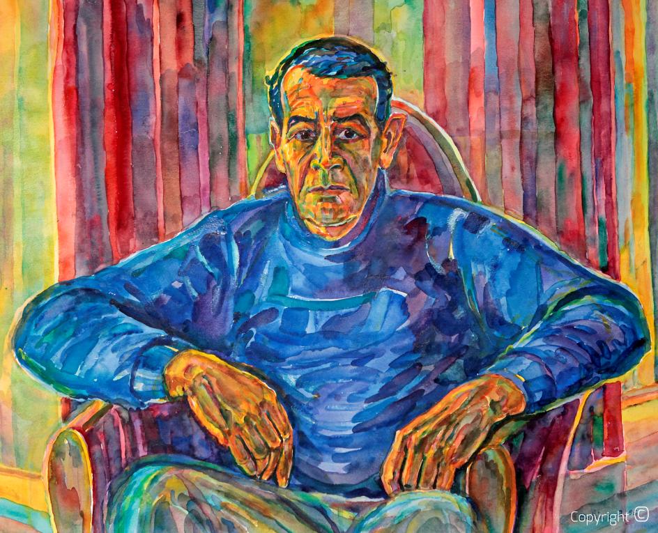 Abdelhamid Ayech dans un pull bleu, 1995