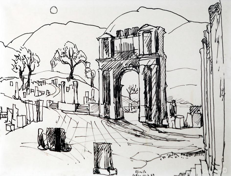 Roman tower in Tebessa, 1969