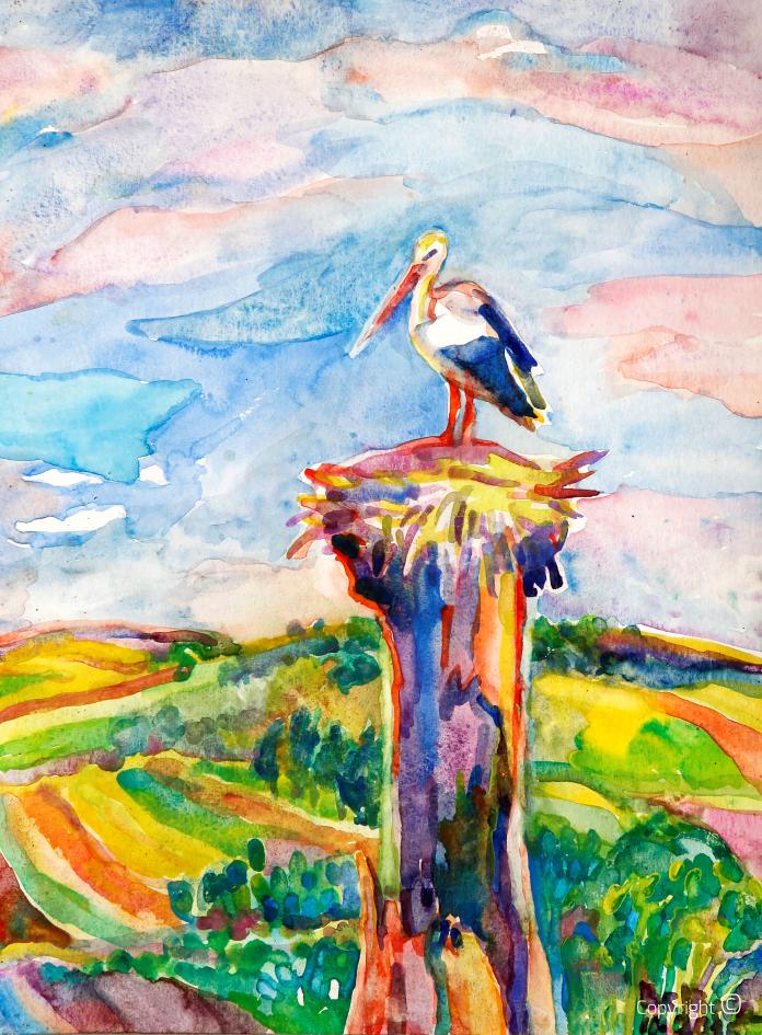 Storch am Stadtrand von Guelma