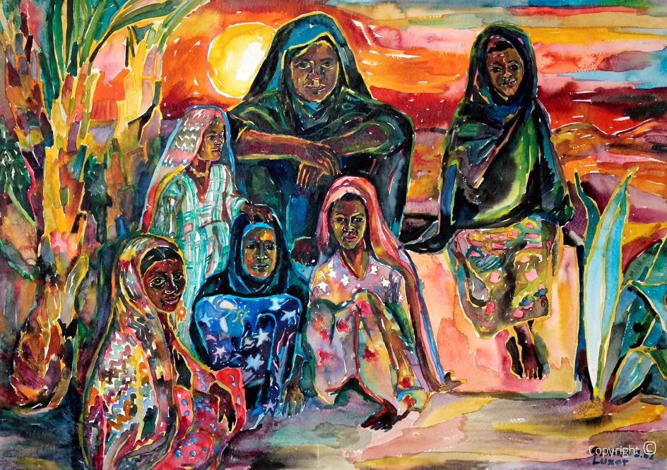 Mädchen am Rande der Wüste bei Luxor, 1962