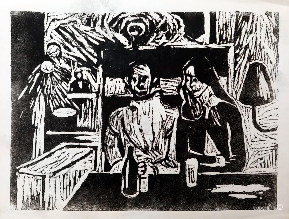 Intérieur, linogravure, vers 1956