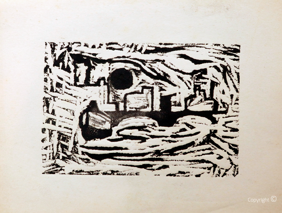 Harbor impressions, b / w linocut, approx. 1956