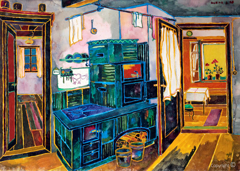 Austrian farmer's kitchen at Gundelsee, 1958